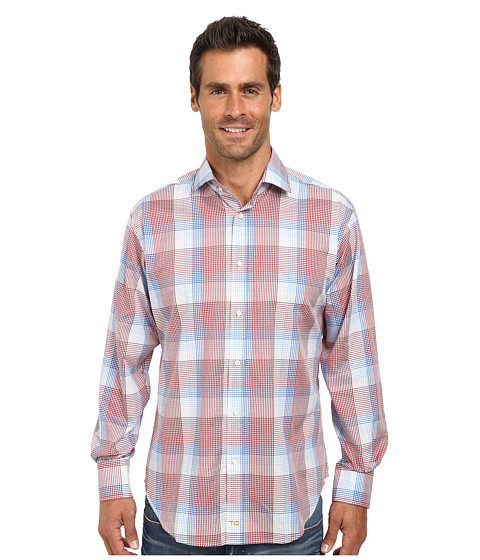 Thomas Dean & Co. - Long Sleeve Woven Ombre Plaid (Red) Men's Long Sleeve Button Up