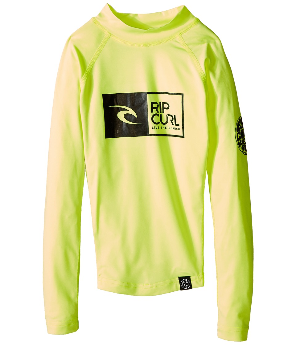 Rip Curl Kids - Ripawatu Long Sleeve (Little Kids/Big Kids) (Lime) Boy's Swimwear