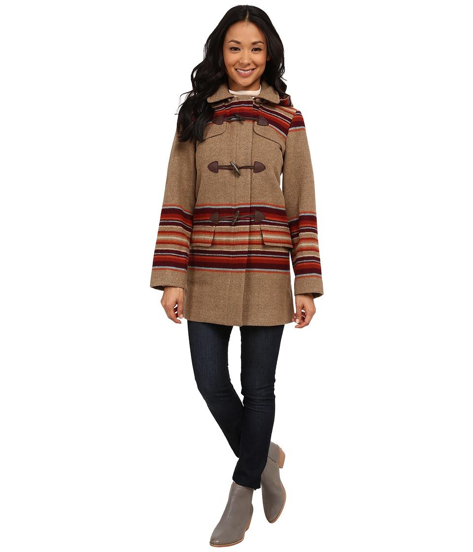 Pendleton - Tillamook Toggle Coat (Camel Mix Placed Stripe Jacquard) Women's Coat