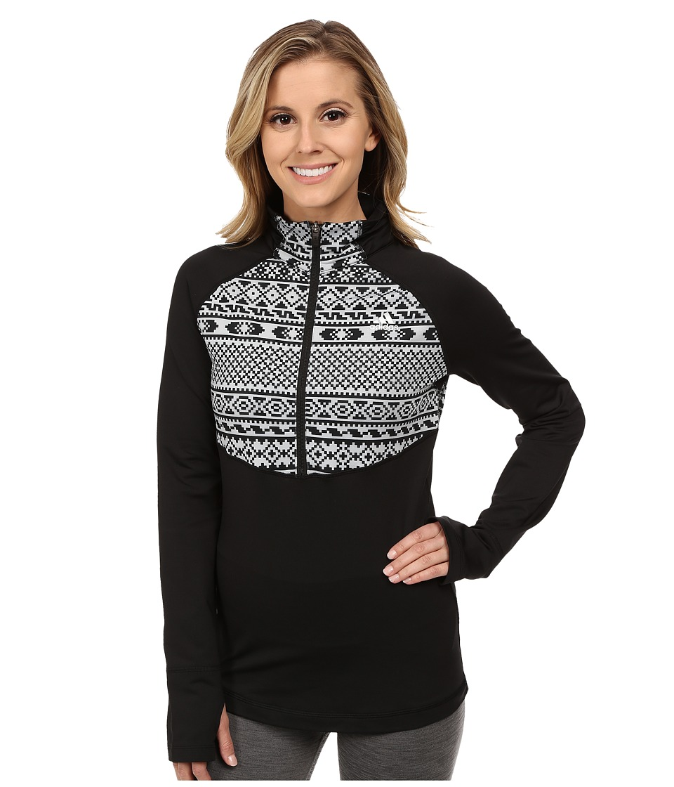 adidas - TECHFIT Cold Weather 1/2 Zip Top - Gondola Print (Black/Clear Onix Print/Matte Silver) Women's Long Sleeve Pullover