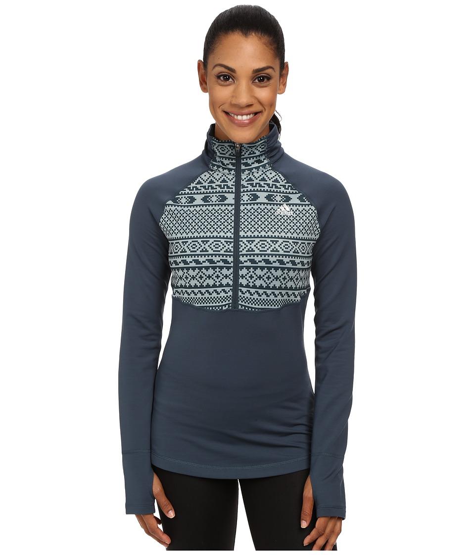 adidas - TECHFIT Cold Weather 1/2 Zip Top - Gondola Print (Midnight/Green Earth Print/Matte Silver) Women