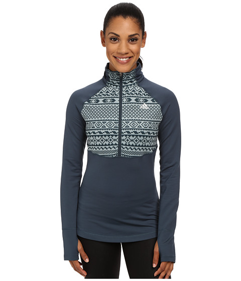 adidas - TECHFIT Cold Weather 1/2 Zip Top - Gondola Print (Midnight/Green Earth Print/Matte Silver) Women