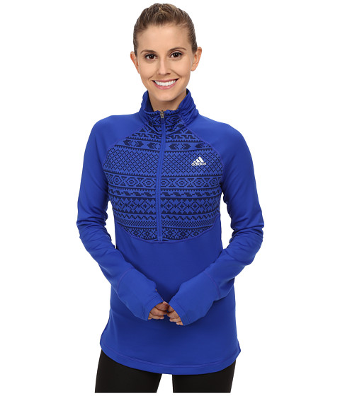 adidas - TECHFIT Cold Weather 1/2 Zip Top - Gondola Print (Bold Blue/Midnight Indigo Print/Matte Silver) Women