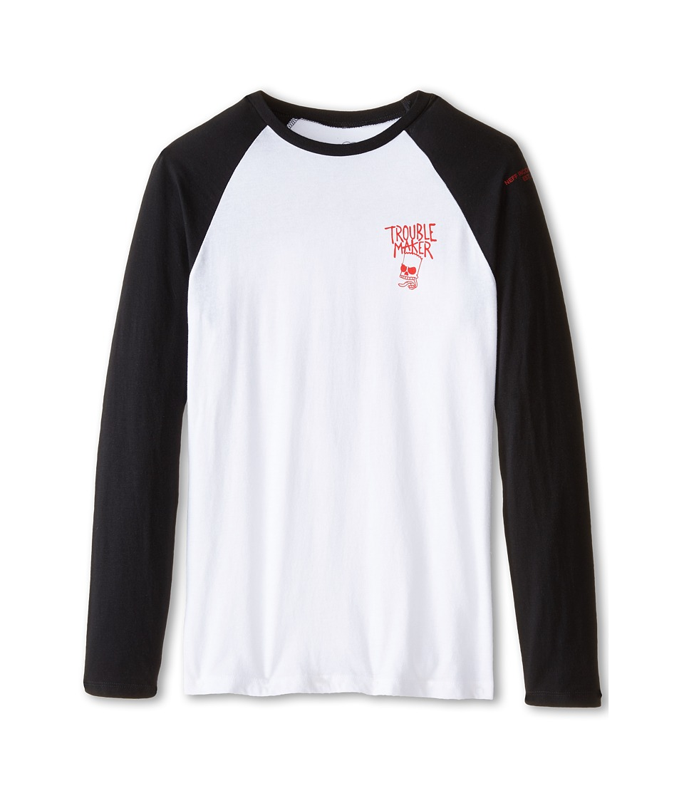 Neff Kids - Trouble Maker Raglan (Big Kids) (White) Boy's Clothing