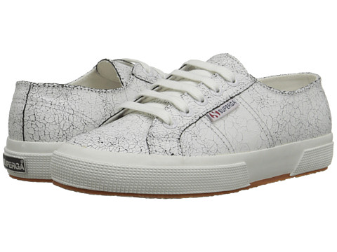 Superga - 2750 Cracked LEAW (White) Women's Lace up casual Shoes
