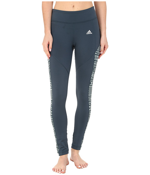 adidas - TECHFIT Cold Weather Tights - Gondola Print (Midnight/Green Earth Print/Matte Silver) Women