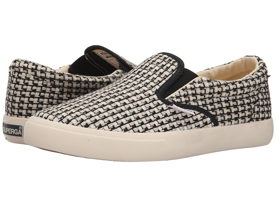 Superga - 2311 Waved Tweed (Black/Off White) Women
