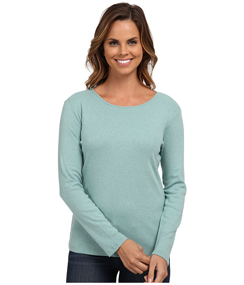 Pendleton - L/S Jewel Neck Cotton Rib Tee (Azure Heather) Women