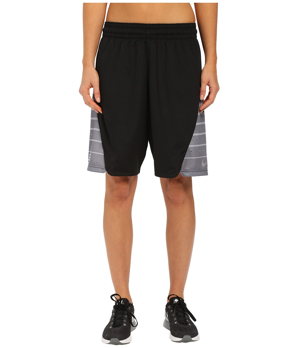 Nike - Elite Shorts (Black/Metallic Silver) Women's Shorts