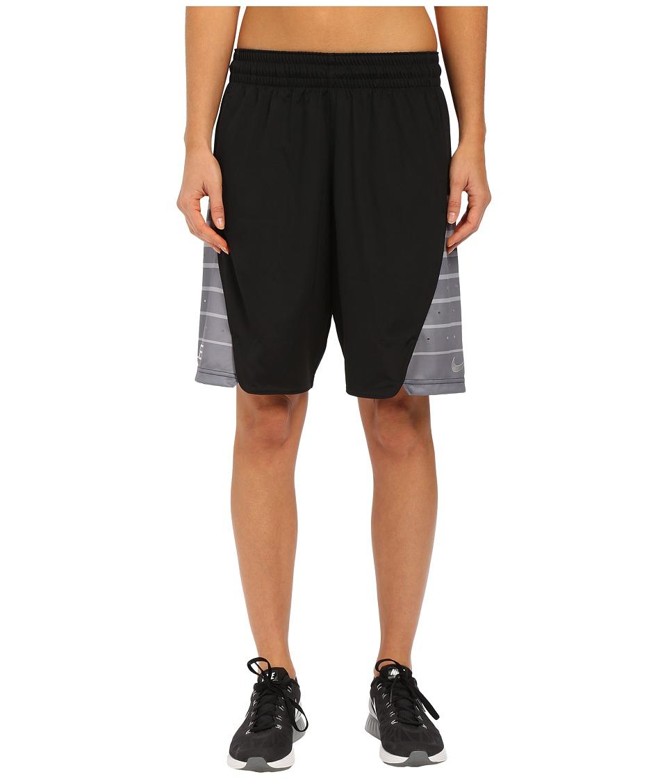 Nike - Elite Shorts (Black/Metallic Silver) Women's Shorts