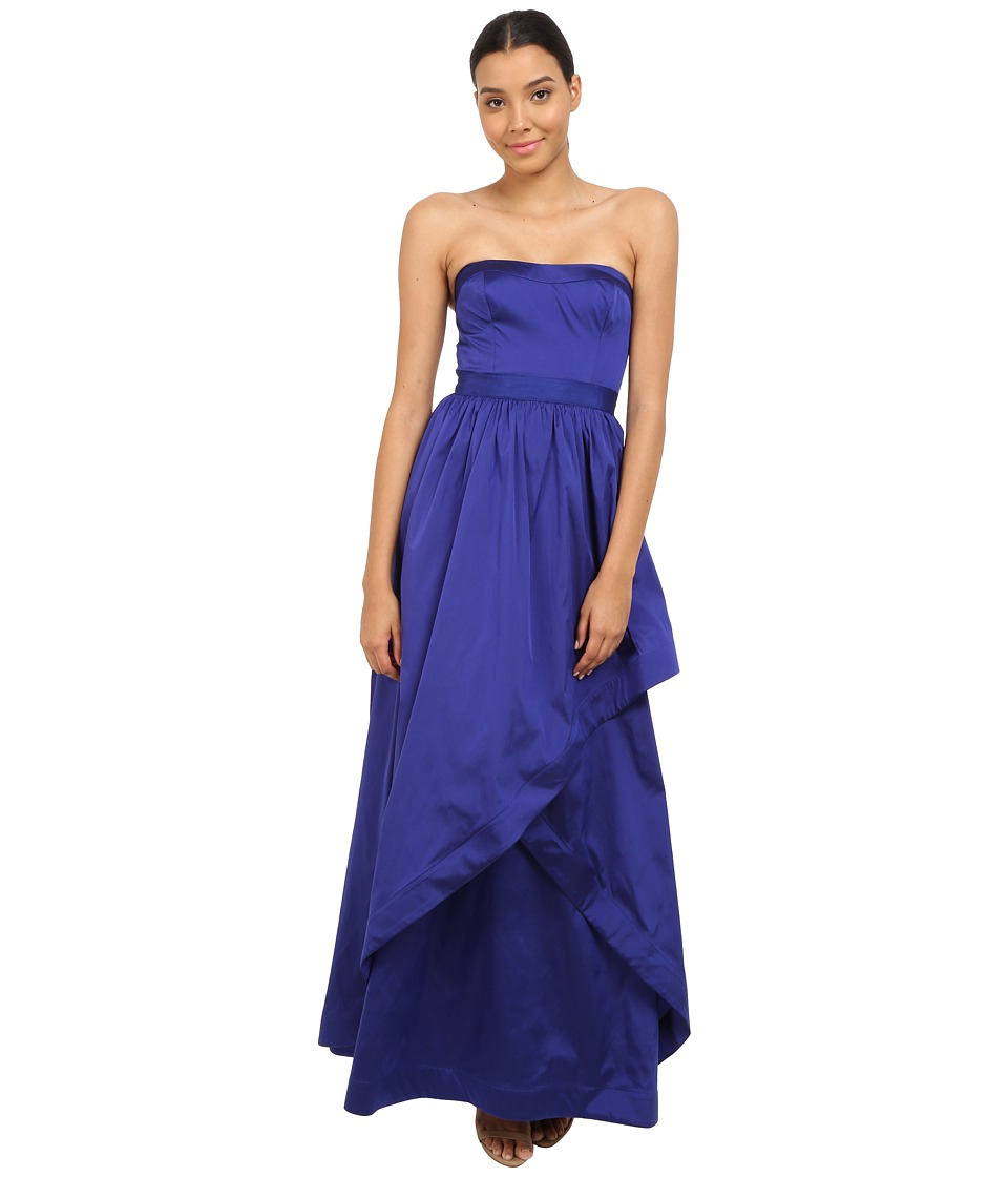 Adrianna Papell - Strapless Taffeta Ball Gown w/ Cross Skirt Detail (Neptune) Women's Dress