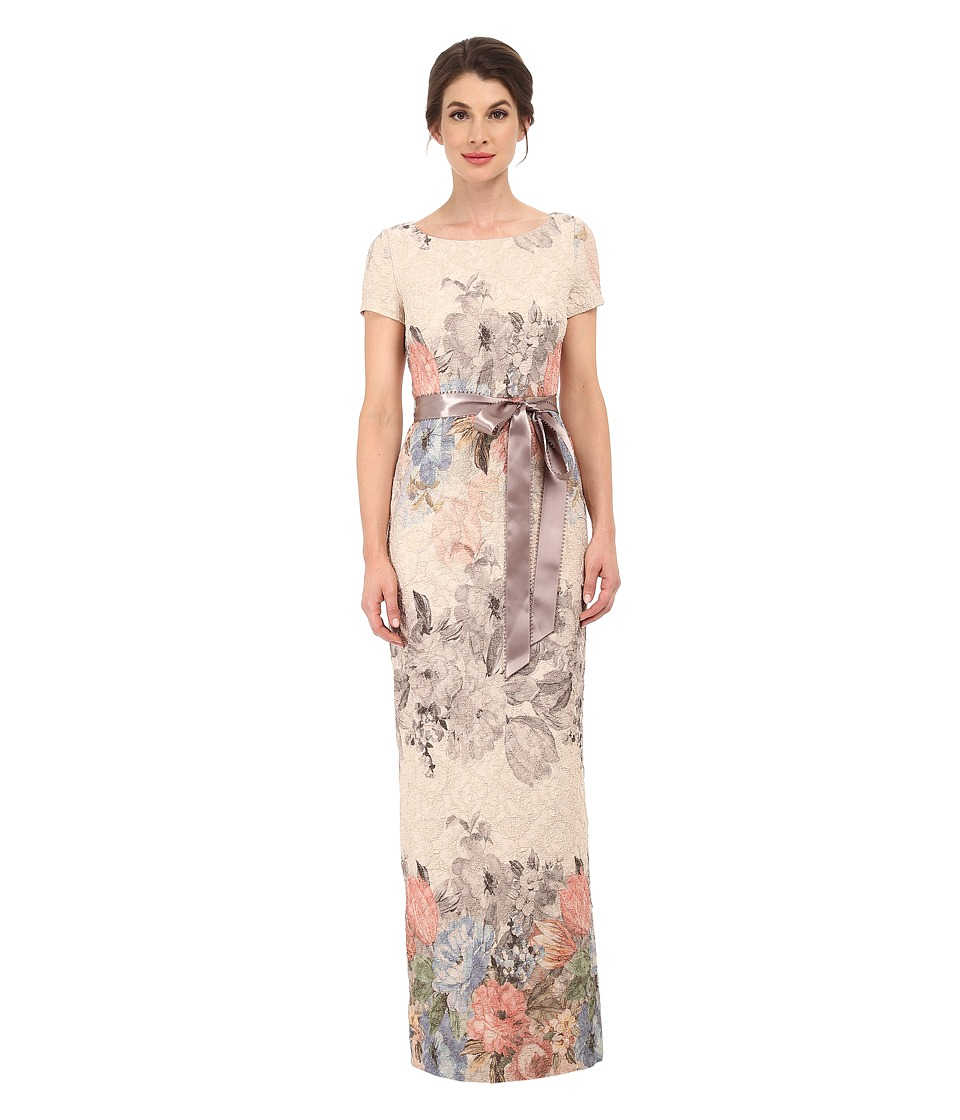 Adrianna Papell - Matelasse Printed Floral Column Gown w/ Picot Edge Ribbon (Blush Multi) Women's Dress