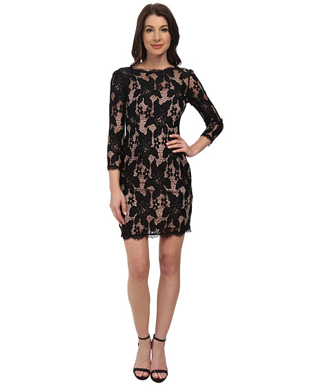 Adrianna Papell - Long Sleeve Lace Cocktail Dress w/ Illusion Neck (Black/Nude) Women's Dress