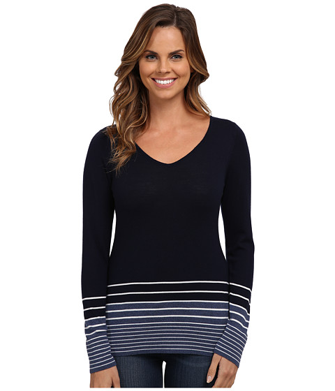 Pendleton - V-Neck Stripe Pullover (Midnight Navy/Blue Indigo Heather/Ivory) Women's Long Sleeve Pullover