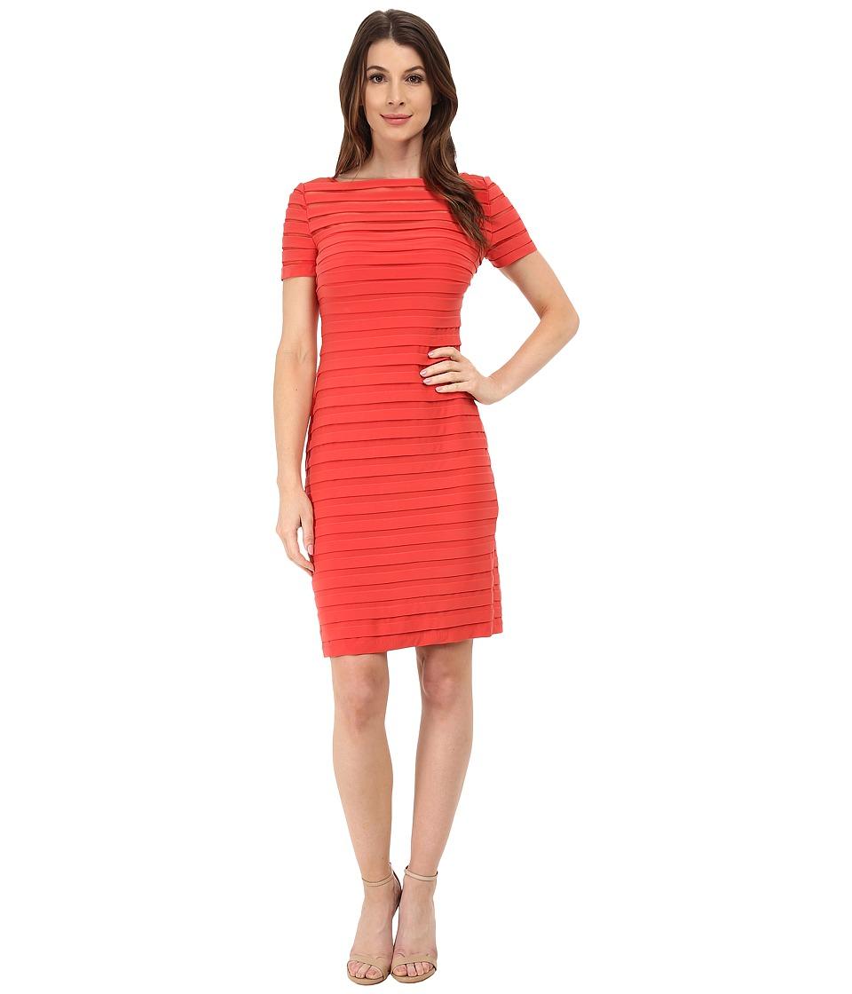 Adrianna Papell - Partial Tuck Dress w/ Short Sleeve (Flame) Women's Dress