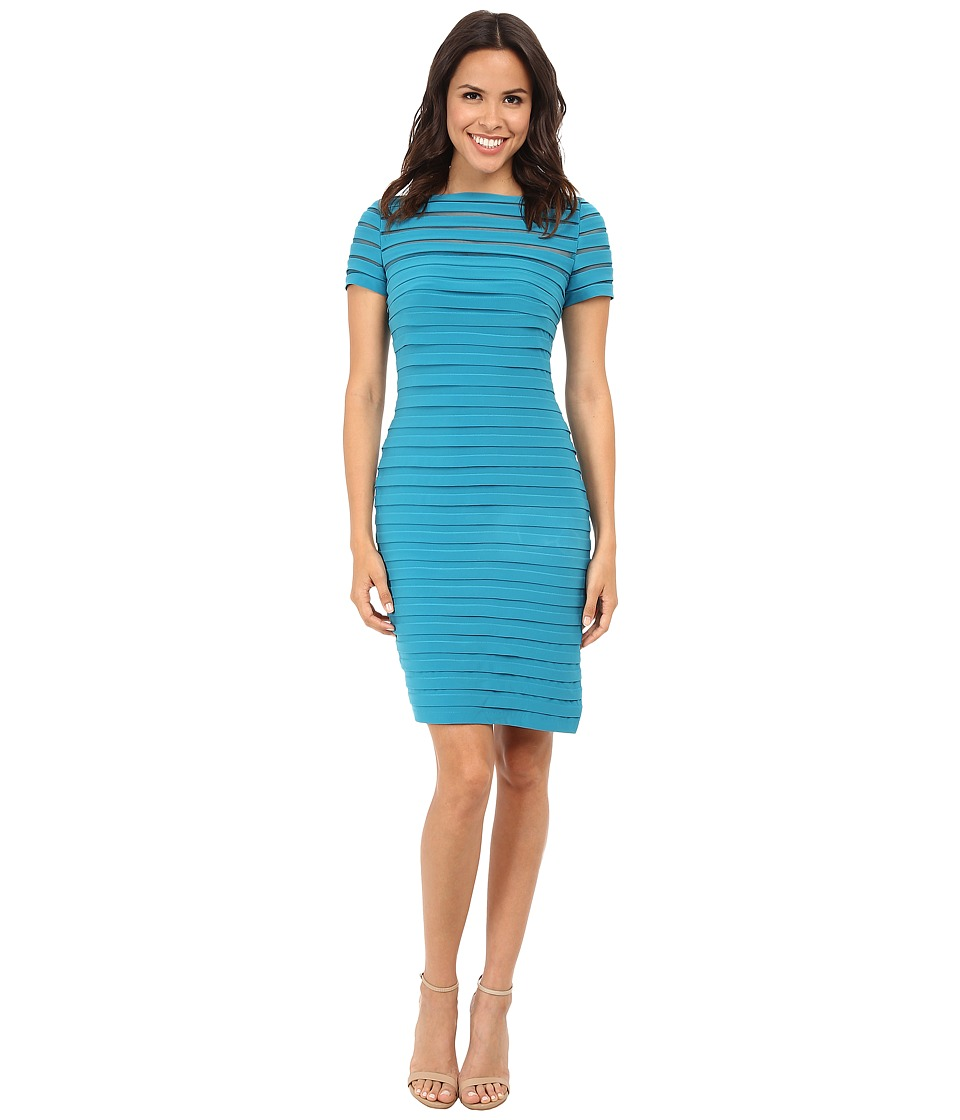 Adrianna Papell - Partial Tuck Dress w/ Short Sleeve (Teal Crush) Women