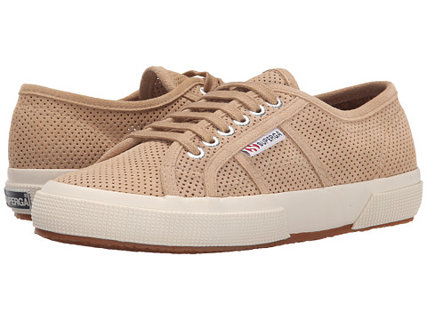 Superga - 2750 Perf (Beige) Women's Lace up casual Shoes