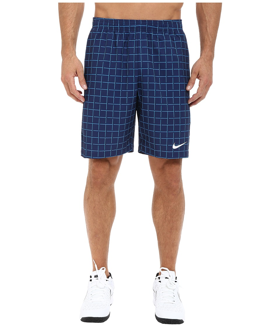Nike - Court Plaid 9 Short (Midnight Navy/Blue Lagoon/White) Men