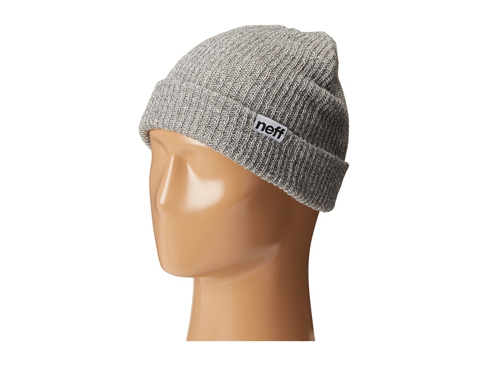 Neff - Fold Heather Beanie (Grey Heather/White) Beanies