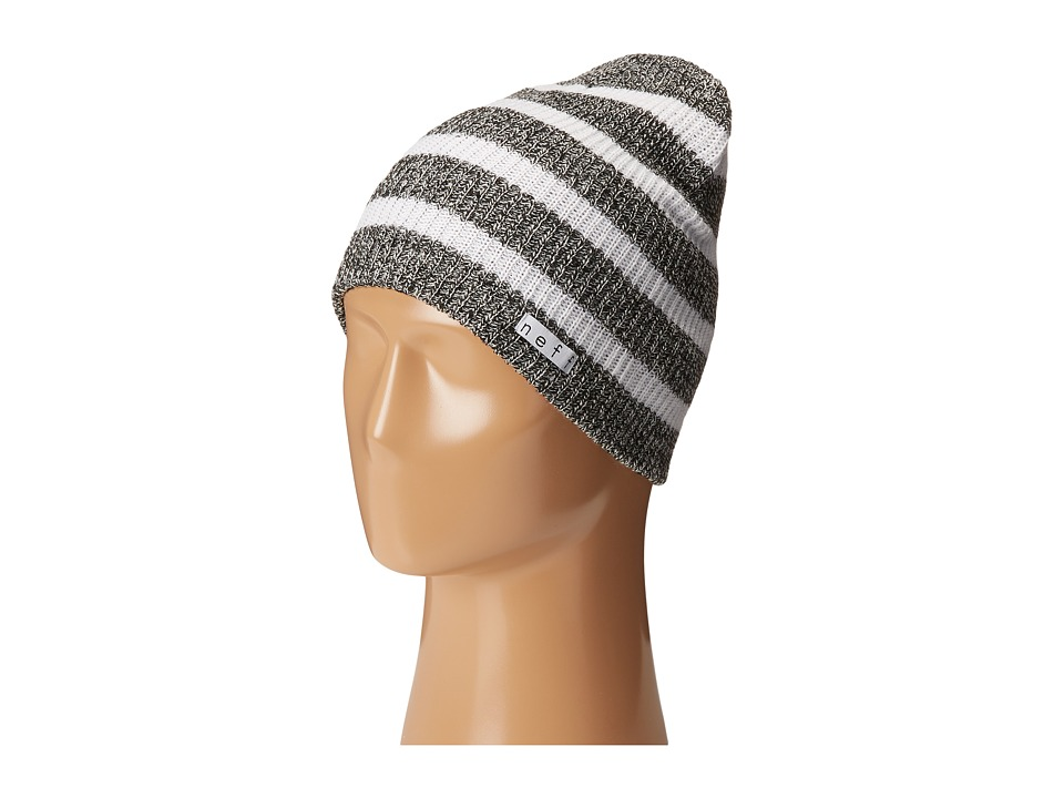 Neff - Daily Stripe Beanie (Black/White Heather/White) Beanies