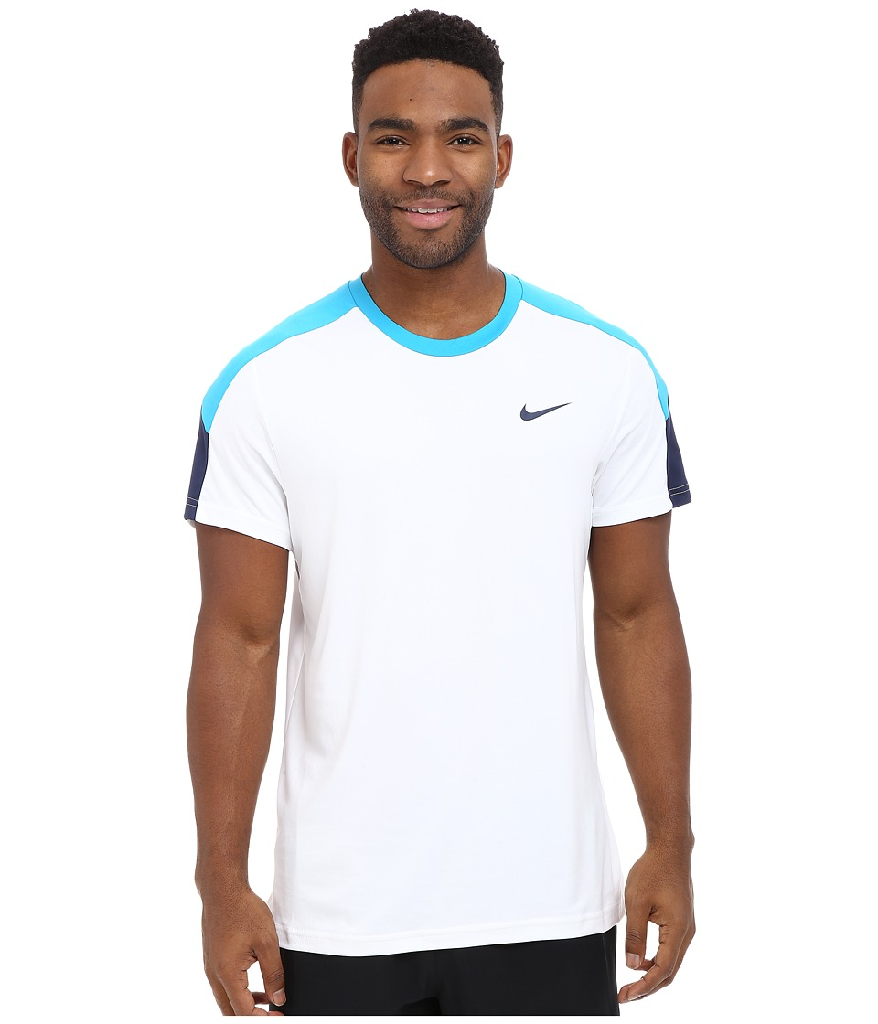 Nike - Team Court Crew (White/Blue Lagoon/Midnight Navy) Men's T Shirt
