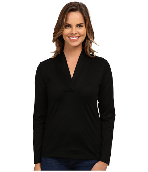 Pendleton - Cross Over Neck Tee (Black) Women's Long Sleeve Pullover