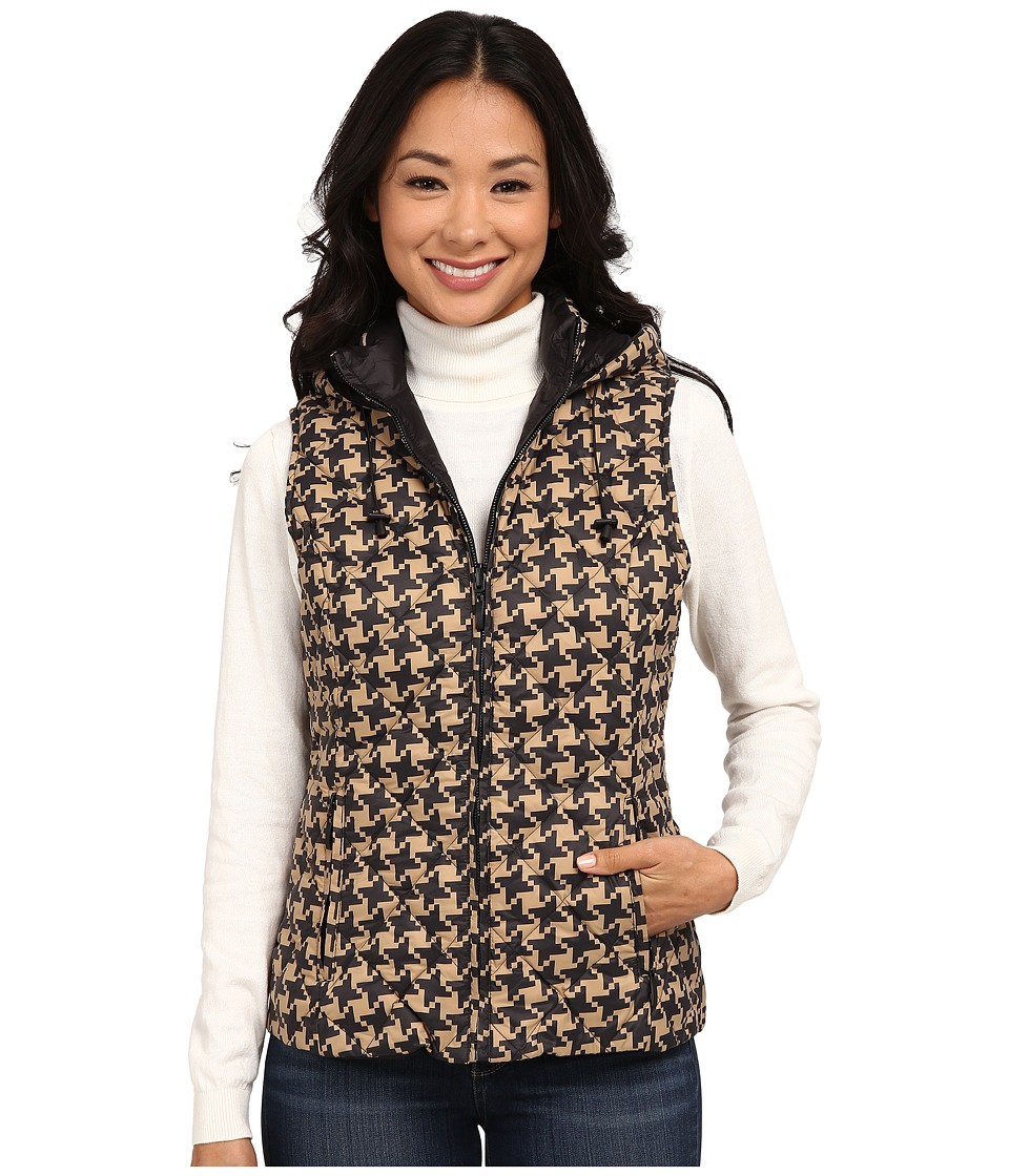 Pendleton - Reversible Print Quilted Vest (Camel Houndstooth/Black) Women