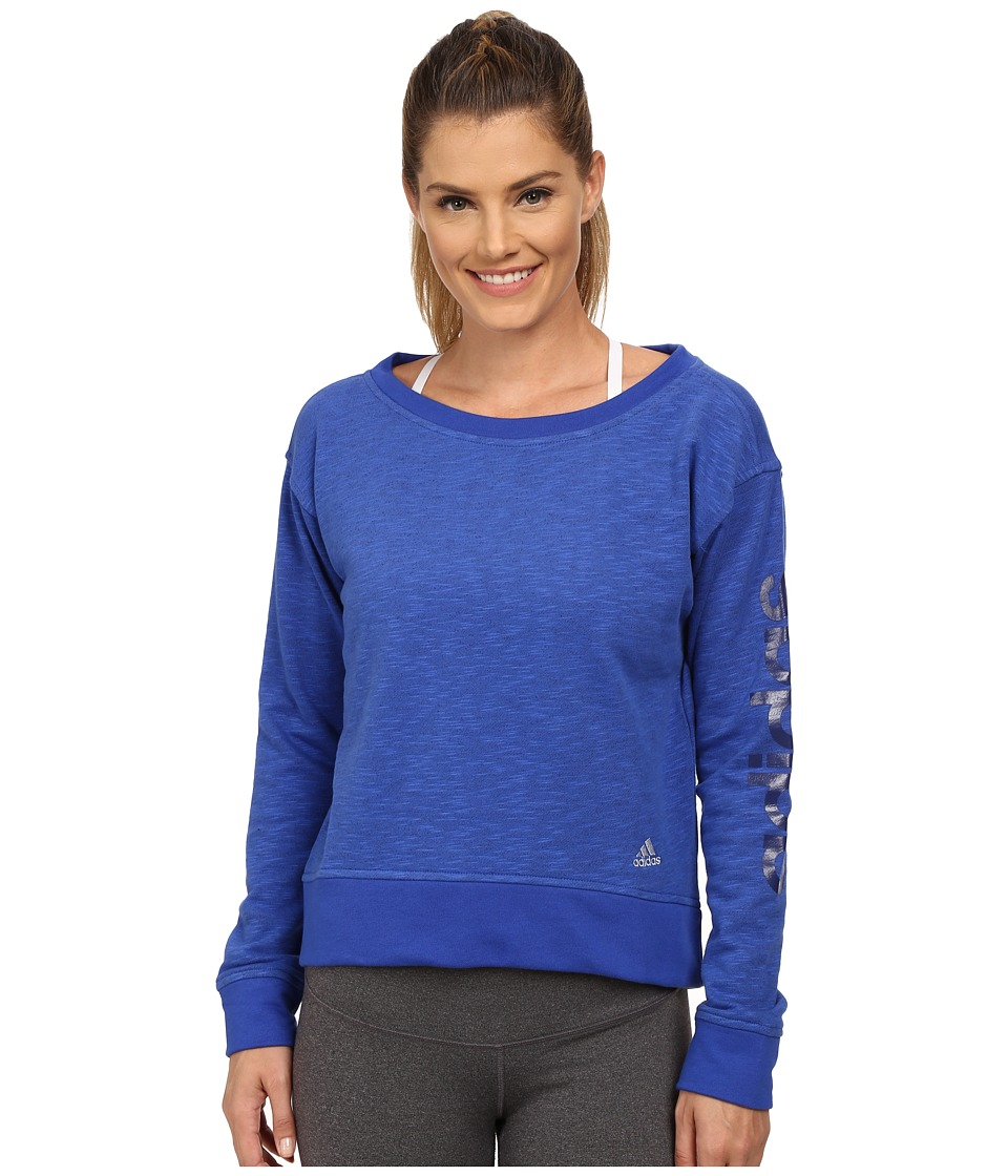 adidas - 24 Seven Crew (Bold Blue Melange) Women's Long Sleeve Pullover