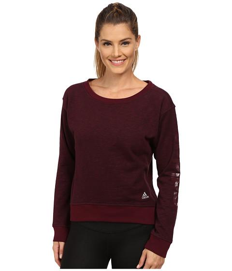 adidas - 24 Seven Crew (Maroon Melange) Women's Long Sleeve Pullover