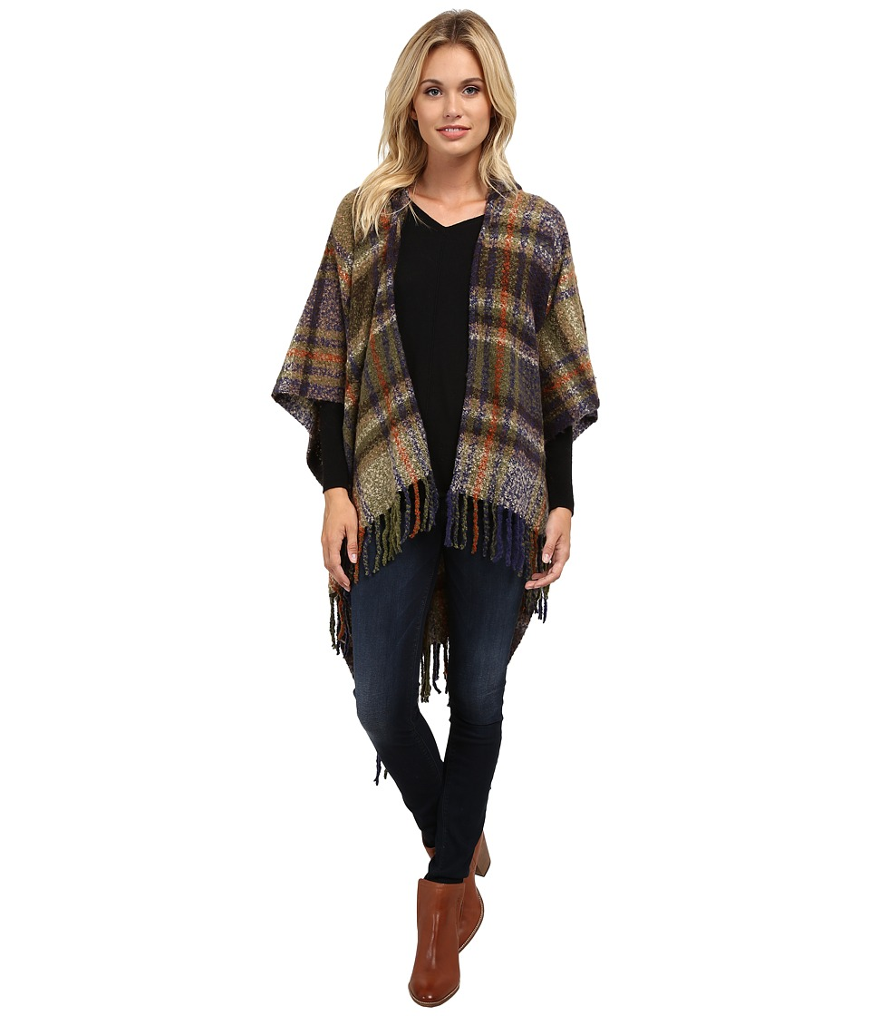 Echo Design - Plaid Hooded Ruana (Olive Heather) Women's Sweatshirt