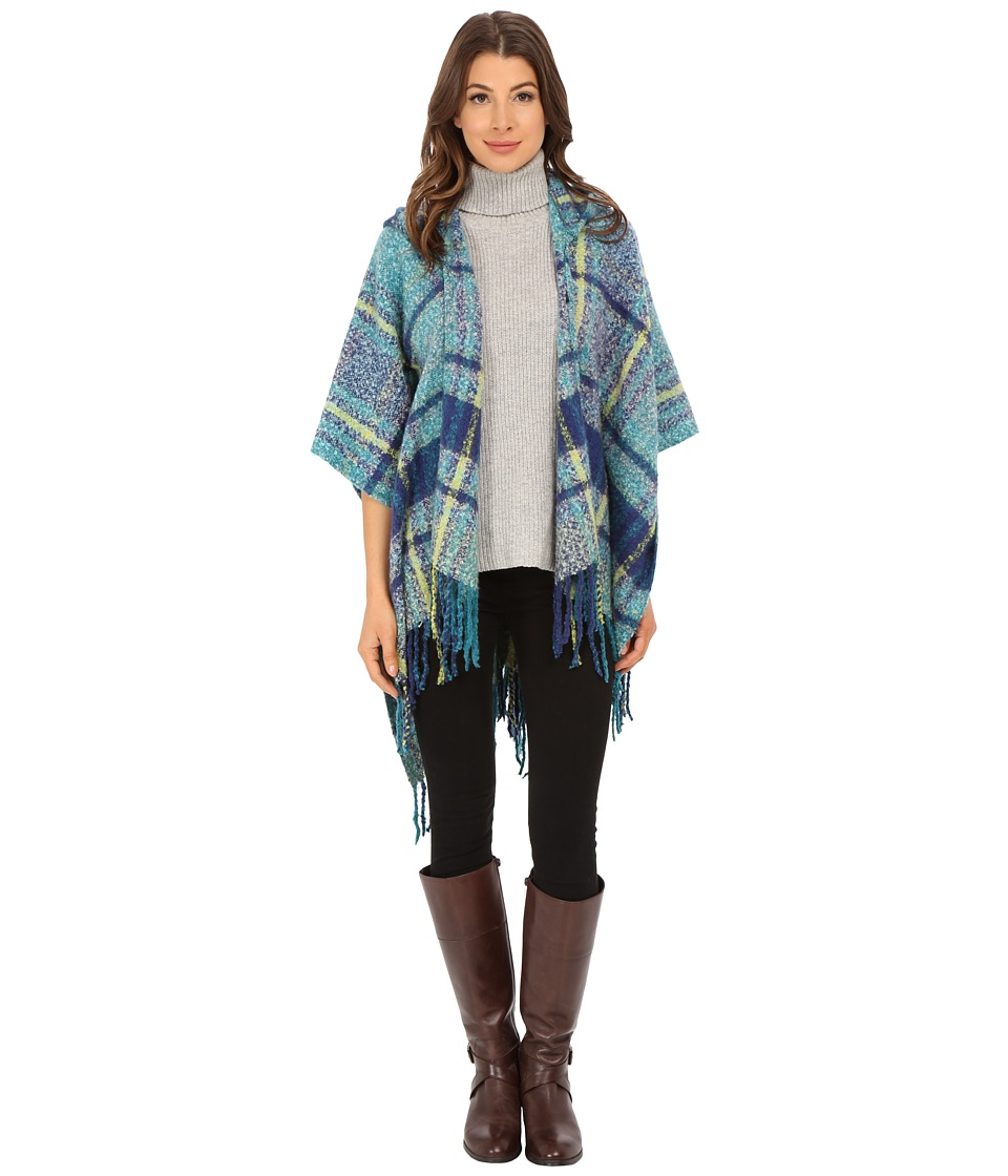 Echo Design - Plaid Hooded Ruana (Ultramarine) Women's Sweatshirt