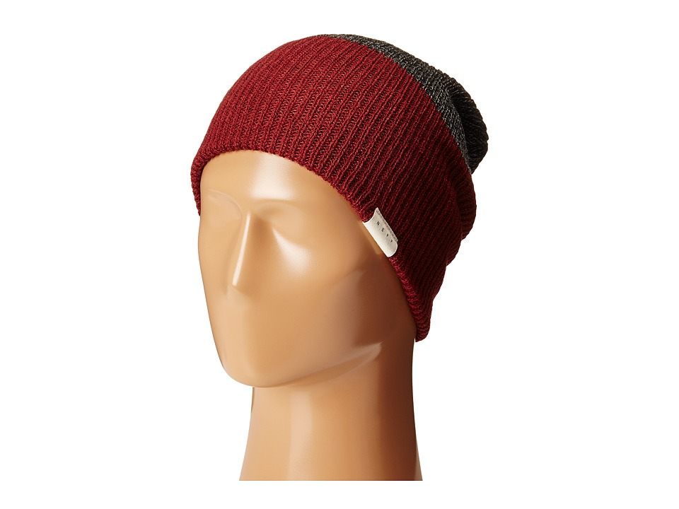 Neff - Duo Beanie (Maroon Heather/Charcoal Heather) Beanies