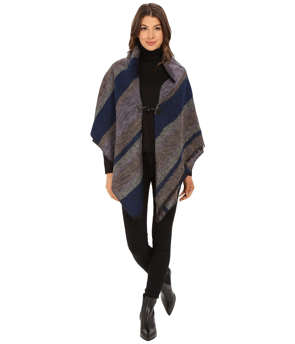 Echo Design - Meadow Stripe Poncho Shawl (Ultramarine) Women's Sweater
