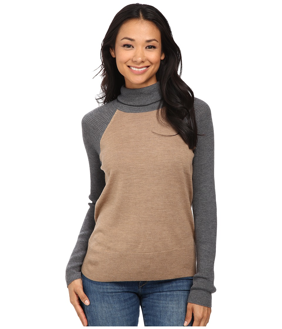 Pendleton - Color Block Turtleneck (Camel Heather/Grey Heather) Women's Long Sleeve Pullover