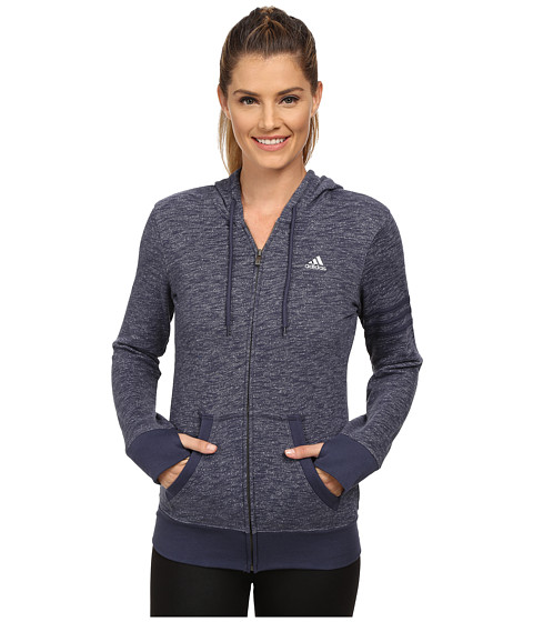 adidas - 24 Seven Full-Zip Hoodie (Midnight Grey M lange) Women's Sweatshirt