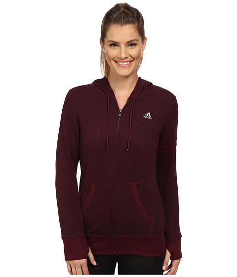 adidas - 24 Seven Full-Zip Hoodie (Maroon Melange) Women
