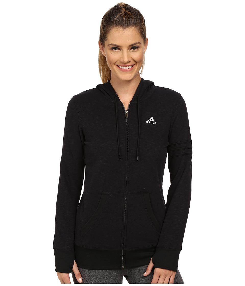 adidas - 24 Seven Full-Zip Hoodie (Black Melange) Women's Sweatshirt