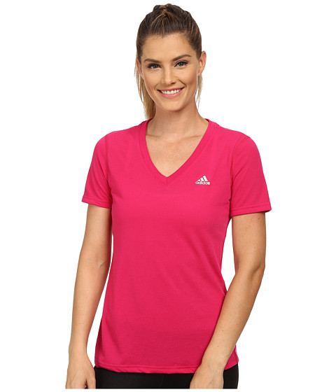 adidas - Ultimate S/S V-Neck Tee (Bold Pink/Matte Silver) Women