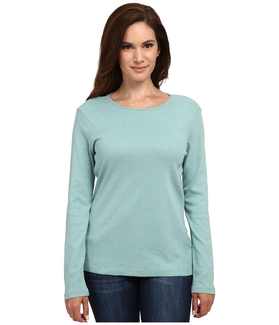 Pendleton - Petite L/S Jewel Neck Cotton Rib Tee (Azure Heather) Women's Long Sleeve Pullover
