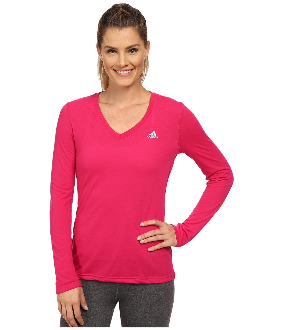 adidas - Ultimate Long Sleeve Tee (Bold Pink/Matte Silver) Women's Long Sleeve Pullover