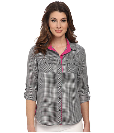 KUT from the Kloth - Leslie Collared Button Down Shirt (Black/White) Women's Long Sleeve Button Up