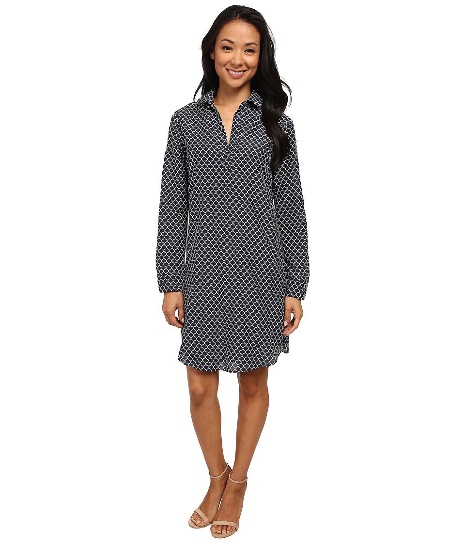 KUT from the Kloth - Long Sleeve Shirt Dress (Indigo/White) Women's Dress