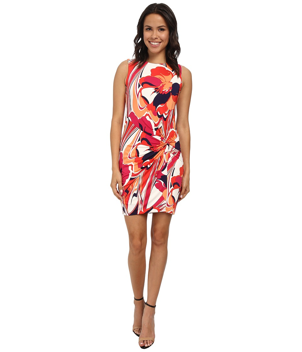 KUT from the Kloth - Scoop Neck Sleeveless Dress w/ Front Twist (Orange/Blue) Women's Dress