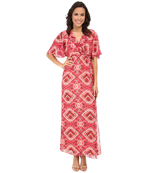 KUT from the Kloth - Kimono Maxi Dress w/ Surplice Bodice (Pink/Nude) Women