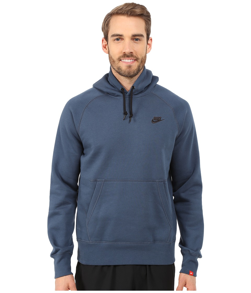 Nike - AW77 Fleece Pullover Hoodie (Squadron Blue/Black) Men