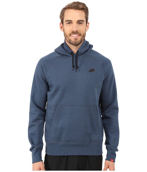 Nike - AW77 Fleece Pullover Hoodie (Squadron Blue/Black) Men's Sweatshirt