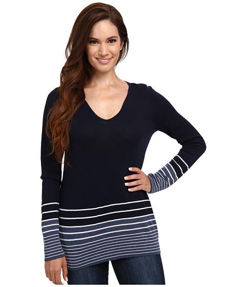Pendleton - Petite V-Neck Stripe Pullover (Blue Indigo Heather/Ivory) Women's Long Sleeve Pullover