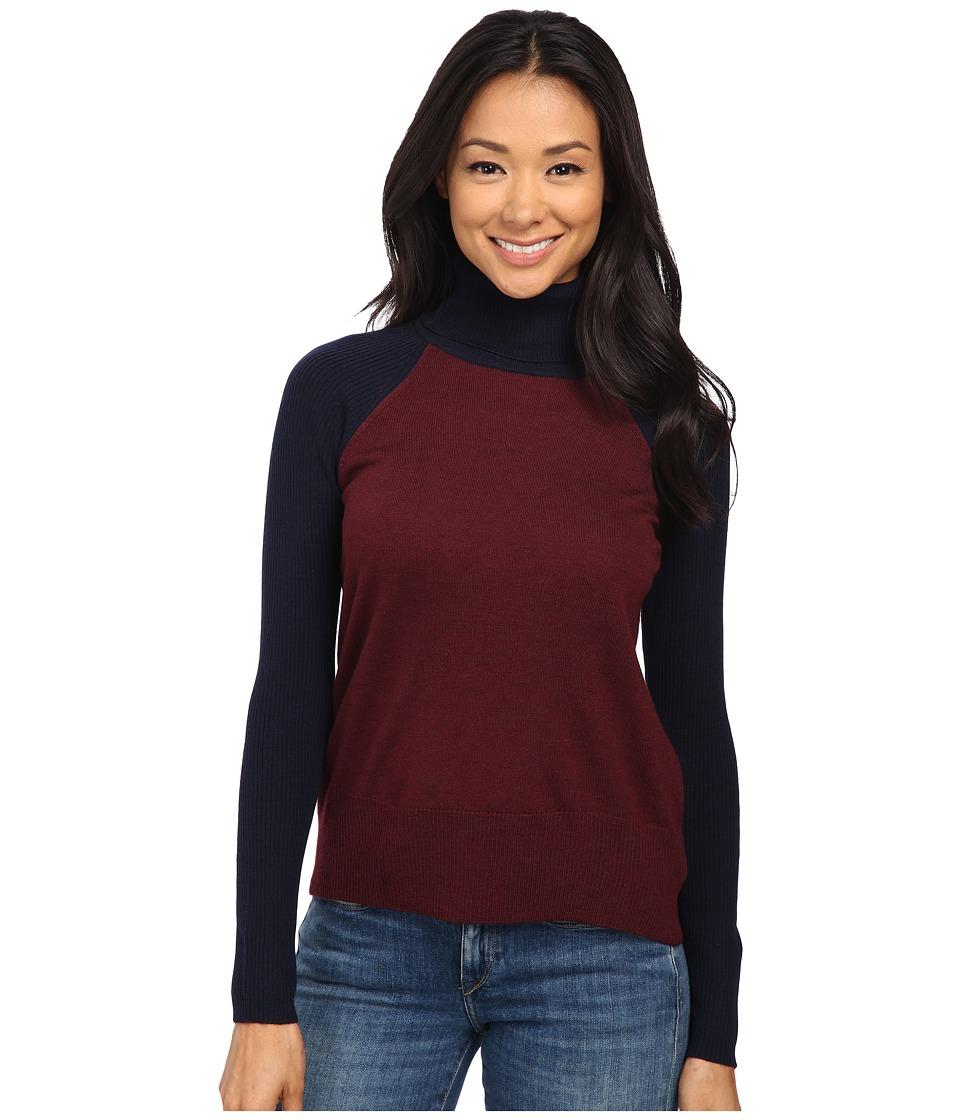 Pendleton - Petite Color Block Turtleneck (Windsor Wine Heather/Midnight Navy) Women's Long Sleeve Pullover
