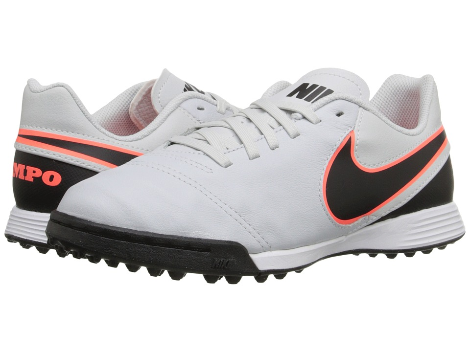 Nike Kids - Jr Tiempo Legend VI TF Soccer (Toddler/Little Kid/Big Kid) (Pure Platinum/Black) Kids Shoes