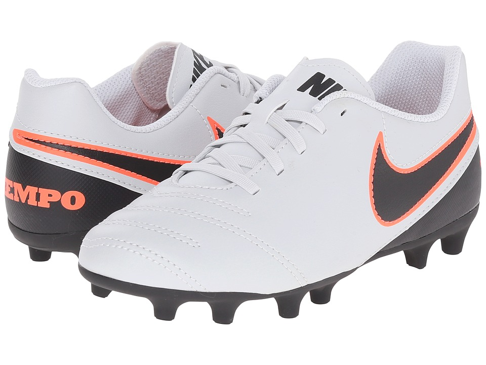 Nike Kids - Jr Tiempo Rio III FG-R Soccer (Little Kid/Big Kid) (Pure Platinum/Black) Kids Shoes